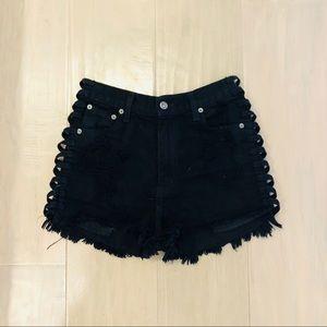 Black Carmar Denim Shorts w/ Cutouts